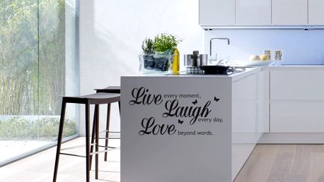 GLIX Live laugh love - samolepka na zeď Černá 50 x 25 cm