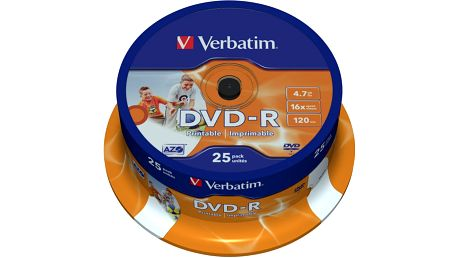 Verbatim DVD-R Printable (Inkjet) 16x 4,7GB spindl 25ks - 43538