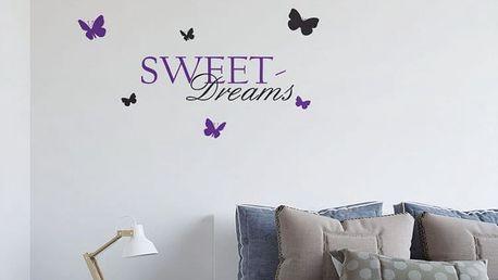 GLIX Sweet dreams - samolepka na zeď Černá a Fialová 100 x 50 cm