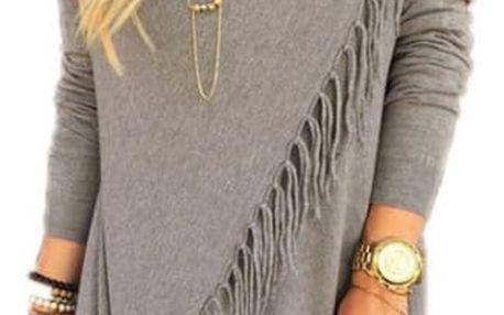 Dámský svetr na způsob ponča - třásně - šedá, velikost 2
