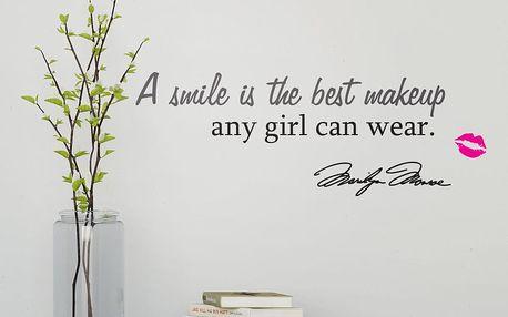 GLIX Citát Marilyn - samolepka na zeď Černá a růžová 95 x 20 cm