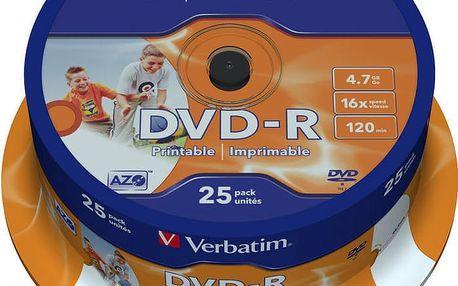 Verbatim DVD-R Printable (Inkjet) 16x 4,7GB spindl 25ks - 43538