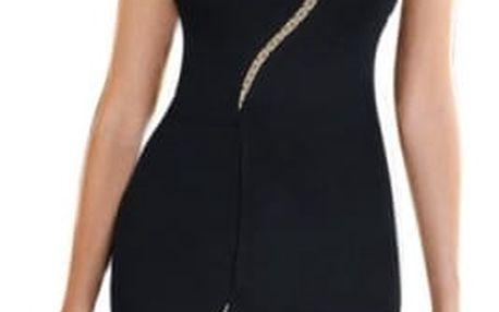 Pouzdrové šaty se síťovou linkou - černá, velikost 8