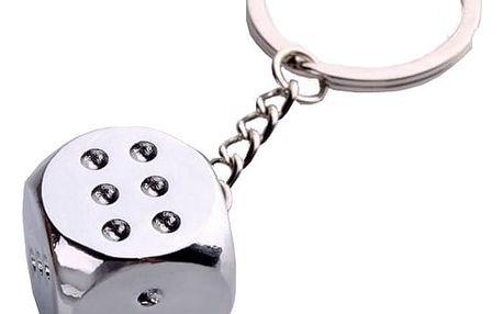 Kovová klíčenka s přívěskem hrací kostky