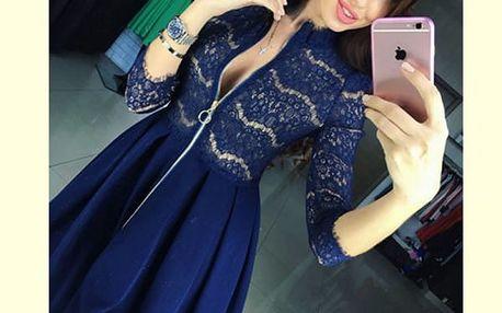 Dámské šaty s krajkou a širokou sukní - modrá, vel. 5