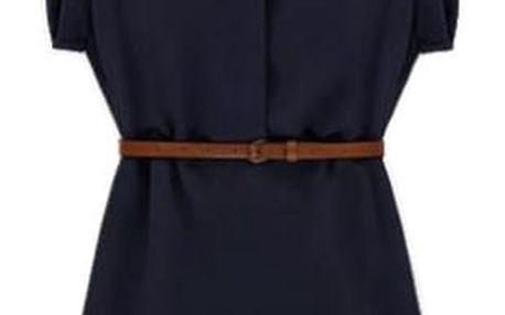 Letní košilové šaty - tmavě modrá, velikost 6