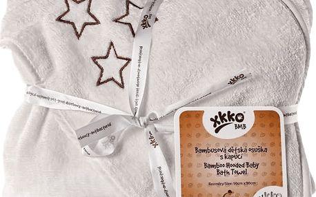 KIKKO Bambusová osuška s kapucí 90x90 - natural brown stars