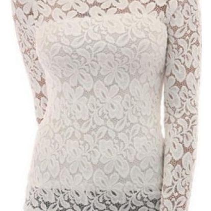 Elegantní dámská halenka s krajkovými rukávy - bílá, velikost č. 2