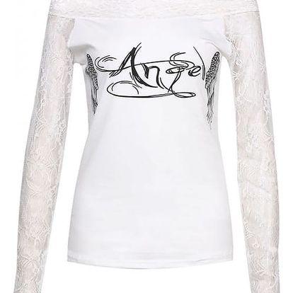Dámské tričko s andělskými křídly a dlouhými krajkovými rukávy - bílá, velikost 5