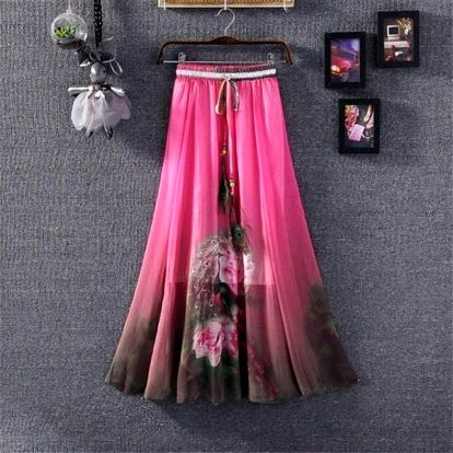 Rozmanitá sukně s ozdobným pavím pírkem na léto - dlouhá - varianta 20