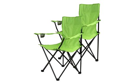 Divero 9527 Kempingová sada - 2x skládací židle s držákem - sv. zelená