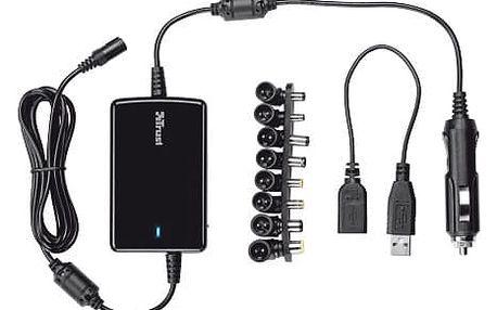 Trust univerzální napájecí adaptér pro notebooky do auta 70W Ultraslim + USB - 18065