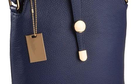 Modrá kožená kabelka Florence Bags Larissa - doprava zdarma!