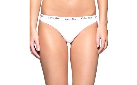 Calvin Klein bílá tanga s bílou gumou Thong Strings - S