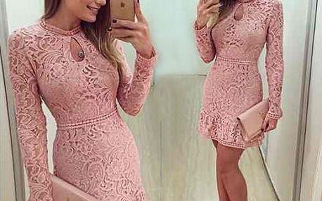 Růžové šaty s krajkou - velikost 6 (L)