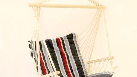 Závěsné houpací křeslo s dřevěnou tyčí a opěrkou, modrá
