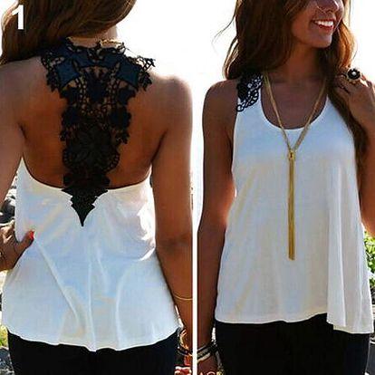 LK shop Top s krajkou na zádech Barva: bílá, Varianta: XL
