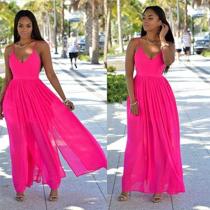 LK shop Maxi šaty s holými zády Barva: růžová, Varianta: XL
