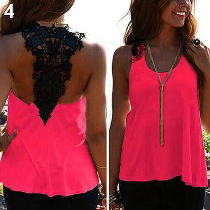 LK shop Top s krajkou na zádech Barva: růžová, Varianta: M