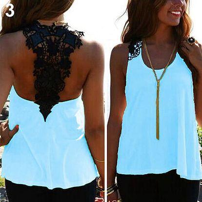LK shop Top s krajkou na zádech Barva: modrá, Varianta: M