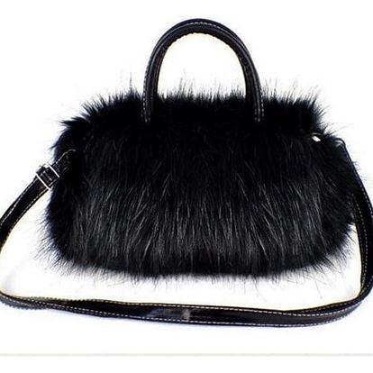 Dámská mini kabelka s chlupy - černá - dodání do 2 dnů