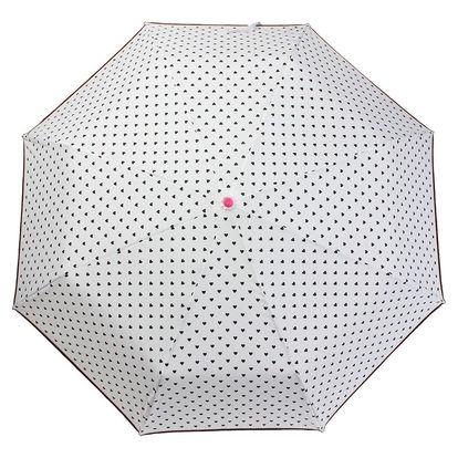 Bílý skládací deštník BombayDuck Bisous Hearts