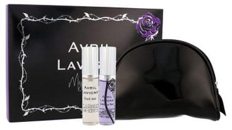 Avril Lavigne Mini Set dárková kazeta pro ženy edp Black Star 10 ml + edp Forbidden Rose 10 ml + kosmetická taška
