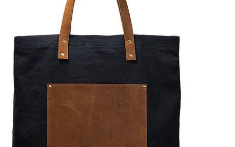 Modro-hnědá kožená vintage maxi taška O My Bag Lou's - doprava zdarma!
