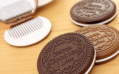 Zrcátko s hřebínkem ve tvaru sušenky