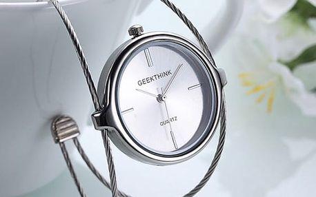 Dámské hodinky s originálním páskem - stříbrná barva - dodání do 2 dnů