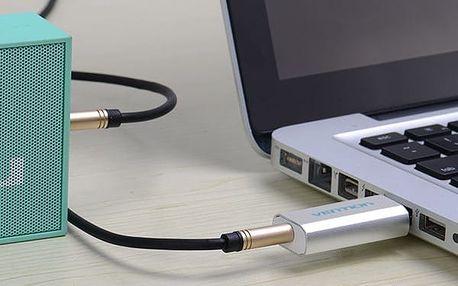 Adaptér z USB na Jack 3.5 mm - stříbrná barva