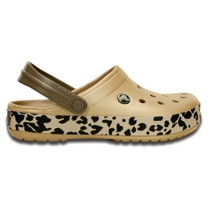 Crocs béžové pantofle Crocband Leopard Clog Gold/Black - W7