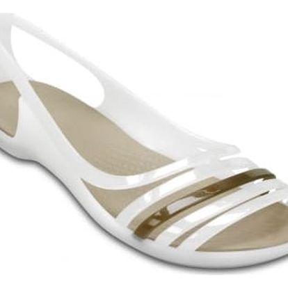 Crocs bílé sandály Isabella Huarache Flat Oyster/Walnut - W9