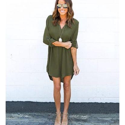Dámské šifonové šaty s prodlouženými zády - zelená, velikost č. 5