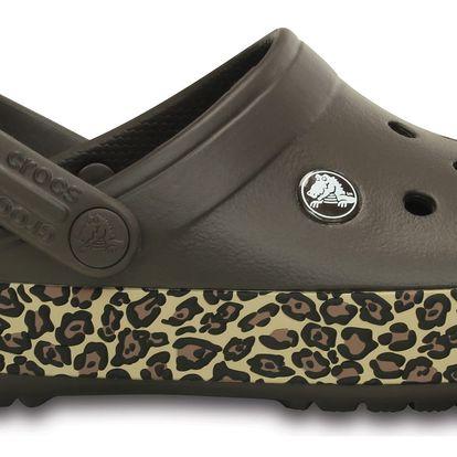 Crocs hnědé pantofle Animal Print Clog Espresso/Gold - W8