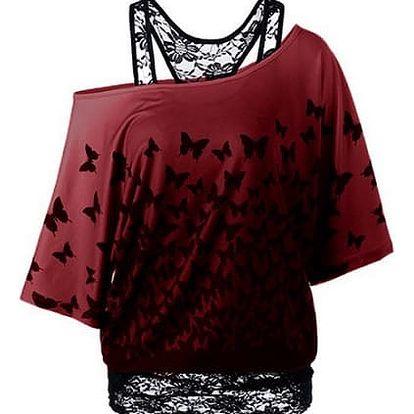 LK shop Top s motýlky a krajkovým tílkem Barva: červená, Varianta: M