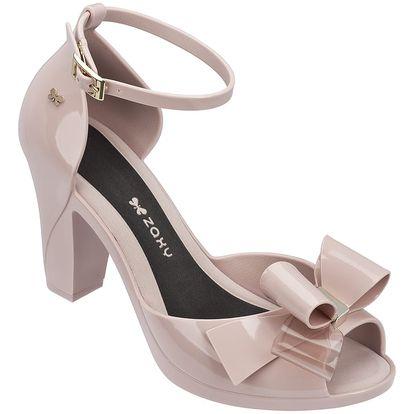Zaxy pudrové boty na podpatku Diva Bow Sandal Fem Nude - 40