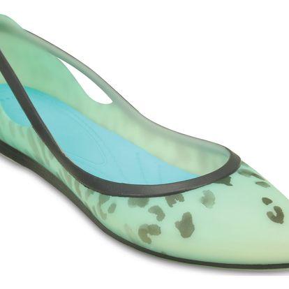 Crocs zelené baleríny Rio Leopard Fade Pool - W9