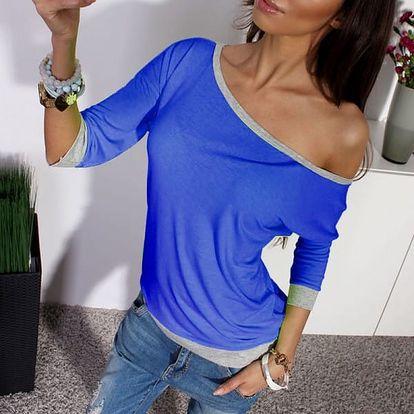 Tričko se spadlým rukávem - modrá, velikost 4