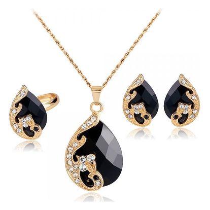Nádherná sada šperků s motivem páva - černá barva - dodání do 2 dnů