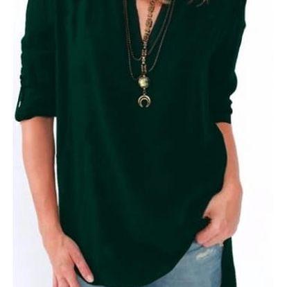 Pohodlné triko s ohnutými rukávy - tmavě zelená, velikost č. 5