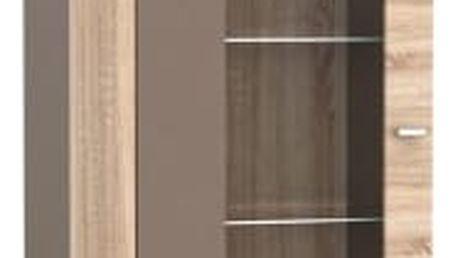Fado - Vitrína malá s osvětlením (dub sonoma/kakao supermat)