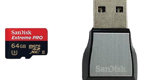 SanDisk Micro SDXC Extreme Pro 64GB UHS-II U3 + čtečka USB 3.0 - SDSQXPJ-064G-GN6M3