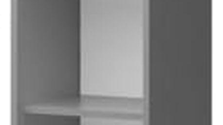 Diego 03 - Regál (přední strana bílá/šedé boky/modrý úchyt)