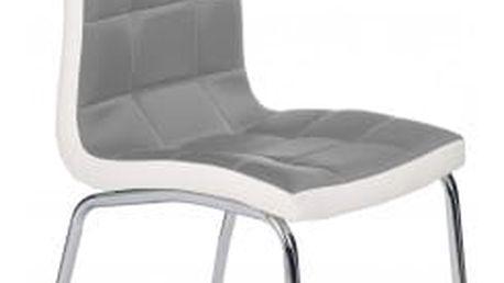 K186 - Jídelní židle (šedo-bílá, stříbrná)