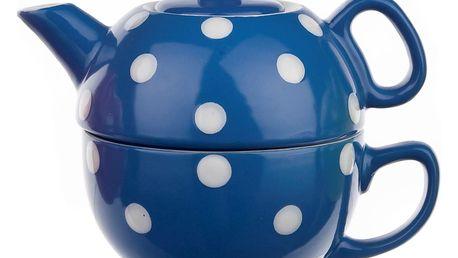 Vcas Sada čajová 2 dílná puntíky konvička 350 ml + hrnek 250 ml 4050307 modrá