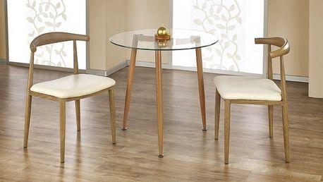 Ulster - Jídelní stůl kulatý 80 cm (olše, čiré sklo)