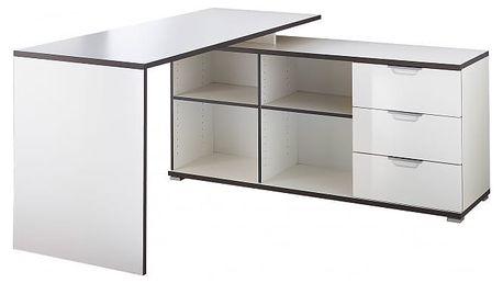 Office - Stůl se skříňkou a zásuvkami (bílá)