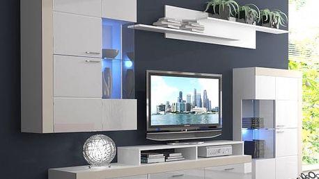 Pablos - Obývací stěna (bílá/bílá lesk, fronty/béžové detaily)