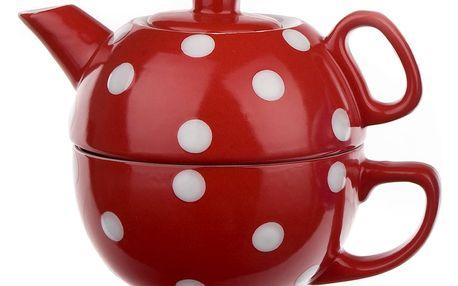 Vcas Sada čajová 2 dílná puntíky konvička 350 ml + hrnek 250 ml 4050307 červená